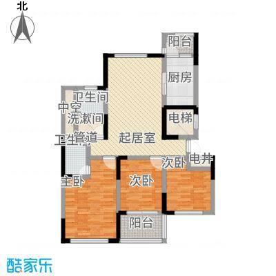 泰和天成123.00㎡一期1号楼A户型3室2厅2卫1厨