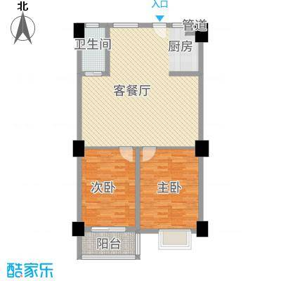银河湾三期33#楼公寓S2户型2室2厅1卫1厨