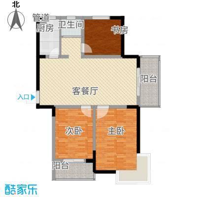 银河湾116.00㎡三期4#楼R3户型3室2厅1卫1厨