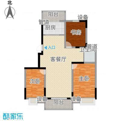 银河湾125.78㎡一期2#楼L户型3室2厅1卫1厨