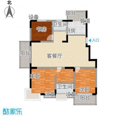 银河湾142.24㎡一期4#楼J户型3室2厅2卫1厨