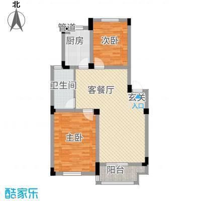 安天国际城86.00㎡多层A户型2室2厅1卫1厨