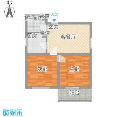 怡安嘉园73.47㎡三期42号楼1单元02户型2室1厅1卫1厨