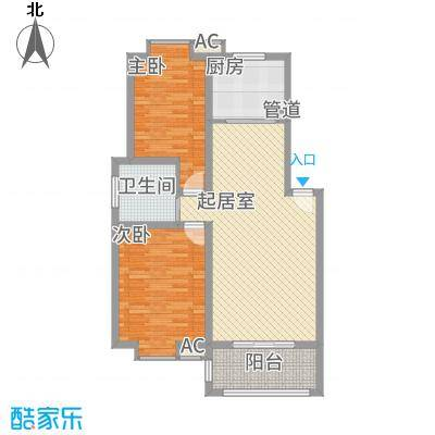 一品和�87.00㎡二期8#楼A户型2室2厅1卫1厨