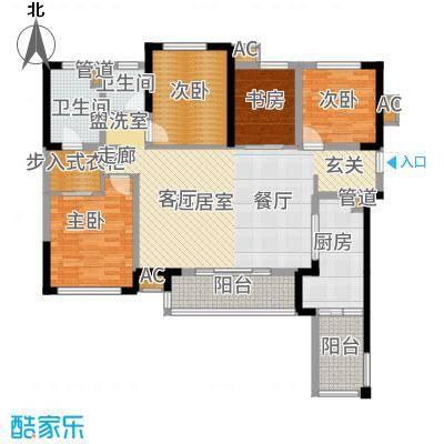 万科金域名邸3、5、6、7号楼标准层XL户型4室2厅2卫1厨