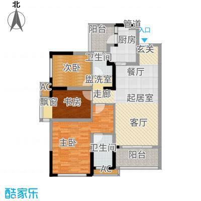 万科金域名邸3、5、6、7号楼标准层L户型3室2厅2卫1厨