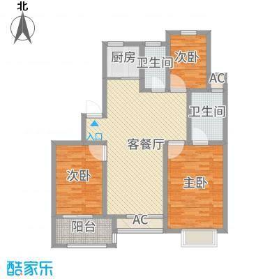 国诚华庭12.00㎡户型3室2厅2卫1厨