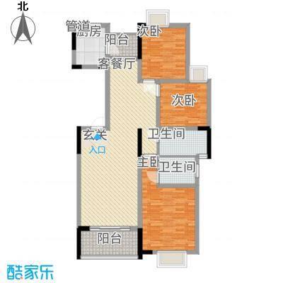 龙鑫华城二期122.15㎡6#C1a户型3室2厅2卫1厨