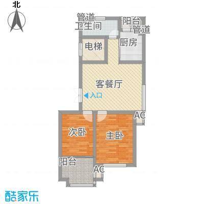 枫丹白露86.41㎡一期10号楼标准层A户型2室2厅1卫1厨