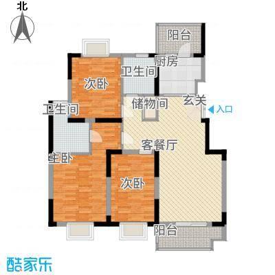 凤凰星城128.00㎡F2户型3室2厅2卫