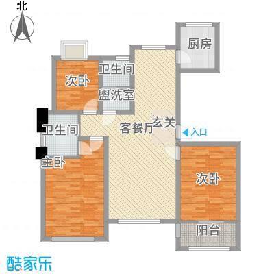 东发现代城山水园127.20㎡多层户型3室1厅2卫1厨