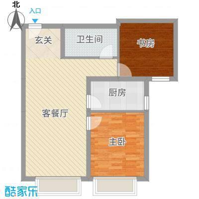 保利香槟国际88.20㎡1、2号楼标准层A6户型2室2厅1卫
