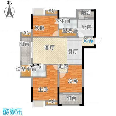 九颂山河博园114.85㎡A2户型3室2厅2卫