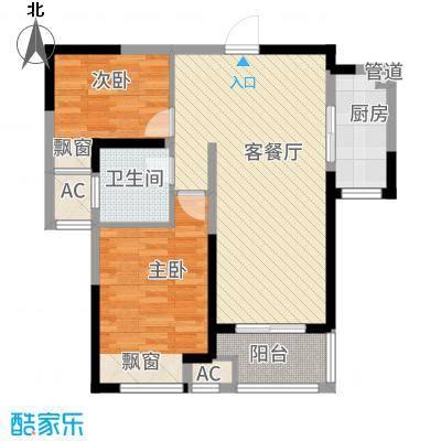 聚湖雅苑88.18㎡一期4-5#楼3-33层F户型2室2厅1卫1厨
