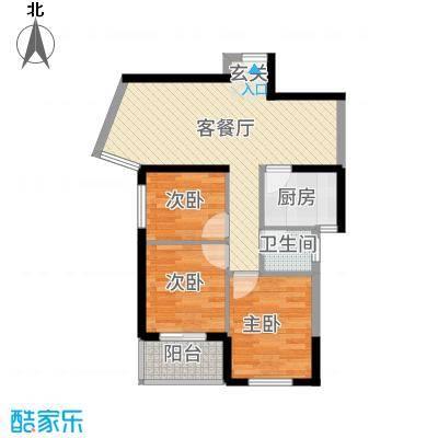 杏北新城锦园居住区76.70㎡K型户型3室1厅1卫1厨