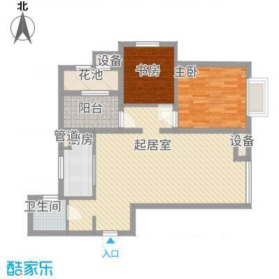潮白河孔雀英国宫84.00㎡十期B区1#2#4#楼C4户型2室2厅1卫1厨