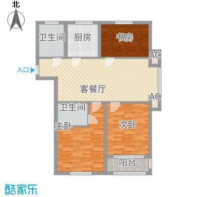 金色蓝庭125.00㎡二期3号楼标准层B户型3室2厅1卫1厨