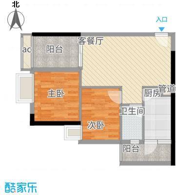 龙津世家76.26㎡A栋043层平面图户型2室2厅1卫1厨