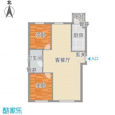 亚泰国际花园2户型2室2厅1卫1厨
