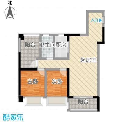 上品花园83.00㎡5栋02单元户型3室2厅1卫1厨