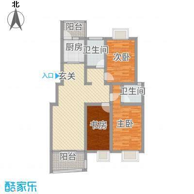 德惠・尚书房114.00㎡一期3号楼标准层I户型3室2厅2卫1厨