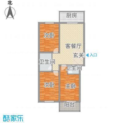 银龙广场33户型3室2厅2卫1厨
