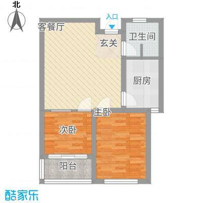 金都北苑7.00㎡高层户型2室2厅1卫1厨