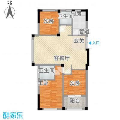 银座・东城丽景117.20㎡洋房边户D-1户型3室2厅2卫1厨