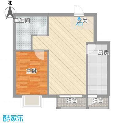 矩阵一期57.36㎡三期19#5单元户型1室2厅1卫1厨