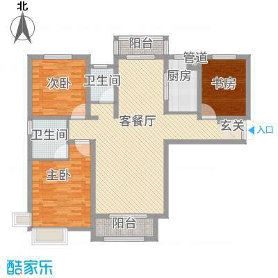 徐州云龙万达广场136.00㎡9#A1户型3室2厅2卫1厨