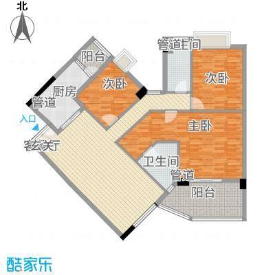颐和上院134.00㎡B栋3层一座01单位户型3室2厅2卫1厨