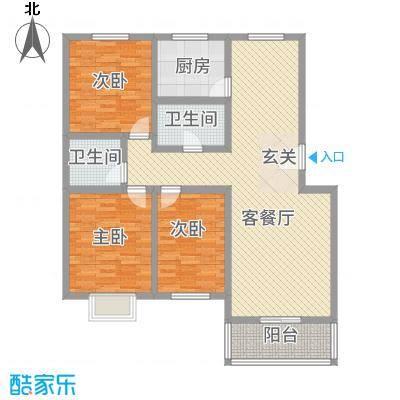 温泉公寓128.00㎡B128户型3室2厅2卫1厨
