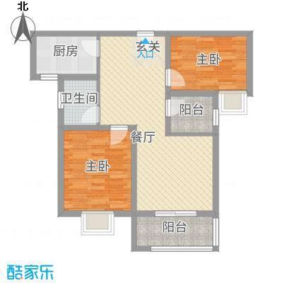 翰林华府88.81㎡1A-2户型3室2厅1卫1厨