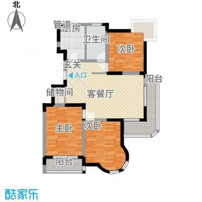 IC时代公寓124.42㎡B1户型3室2厅1卫