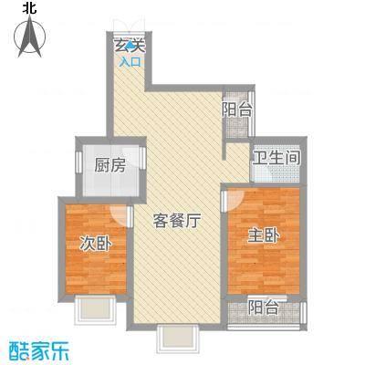 东城国际185.43㎡东尚国际B1户型2室2厅1卫1厨