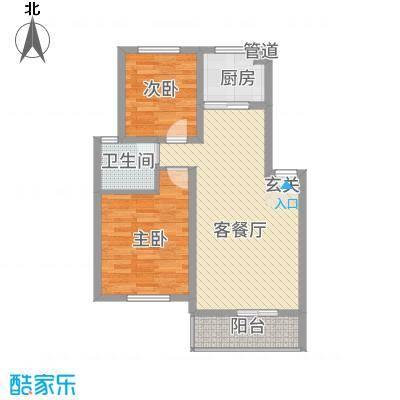 三江航天花园85.00㎡2#楼B户型2室2厅1卫1厨