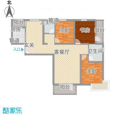 水云间A2-1(2#)户型3室2厅2卫1厨