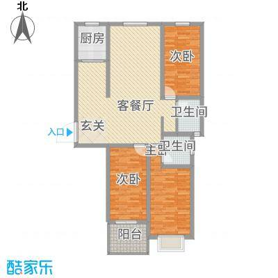 华珍国际132.00㎡E户型3室2厅2卫1厨