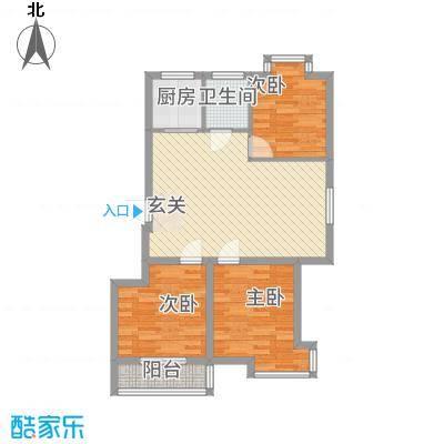 东山花园2.00㎡G-1户型3室2厅1卫1厨