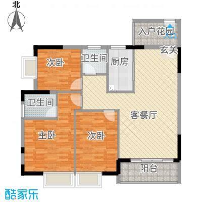 凤凰新城16.63㎡户型3室2厅2卫1厨