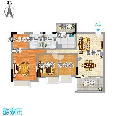 丽景花园三期117.00㎡丽景花园三期户型图2楼标准层05室3室2厅2卫1厨户型3室2厅2卫1厨-副
