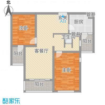 鹏欣・水游城112.57㎡D1户型2室2厅1卫1厨