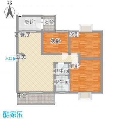 江岸山景15.71㎡H户型3室2厅2卫1厨