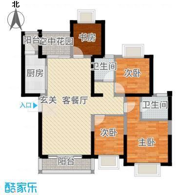 创森财富中心117.72㎡D1户型4室2厅2卫1厨