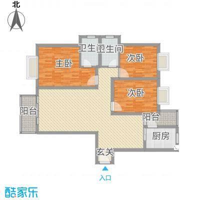 高尔夫花园135.77㎡户型3室2厅2卫