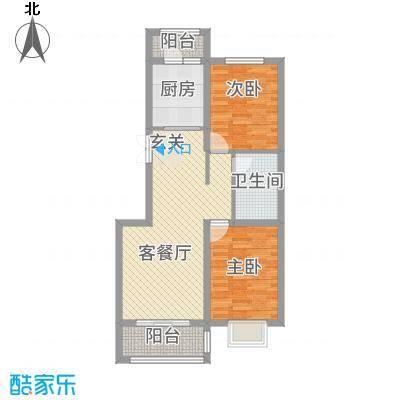 奥林・景泰嘉苑B户型2室2厅1卫1厨