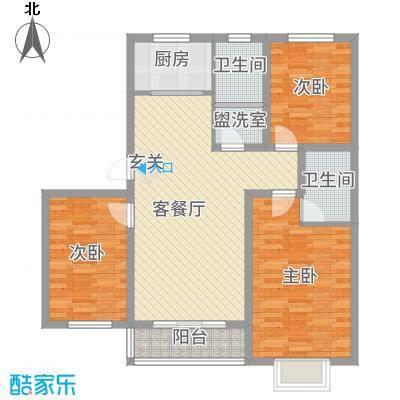 隆城国际三期112.65㎡U户型3室2厅2卫1厨