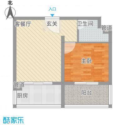 龙腾花园66.70㎡2-2#户型1室1厅1卫1厨