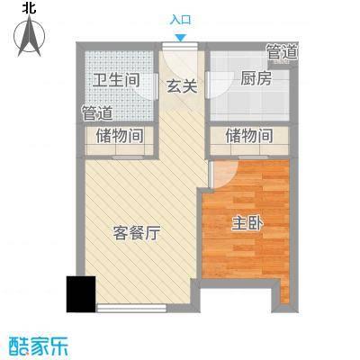 淮安万达广场55.00㎡1-1户型1室1厅1卫1厨