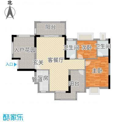 丰泰观山碧水・凌峰106.00㎡2栋1、2单元03户型2室2厅2卫1厨